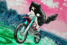 Dirtbike Cat  3x4.5 magnet by KittyCassandra on Etsy, $5.00