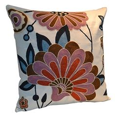 Flower Pure Cotton Embroidered Cushion Cover Inch Decorative Throw Pillow Cover Purified Cotton Embroidery Square Floral Cushion Cover for Couch Sofa Bed, 1 Piece Square Floral Cushions, Embroidered Cushions, Embroidered Flowers, Sofa Cushion Covers, Cushion Fabric, Cushions On Sofa, Couch Sofa, Crewel Embroidery, Embroidery Patterns