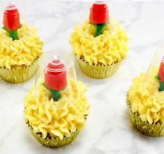 Make Your Own 'Beauty And The Beast' Candy Rose Cupcakes