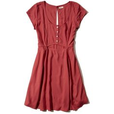 Hollister Cutout Skater Dress ($20) ❤ liked on Polyvore featuring dresses, red, scoop neck skater dress, red skater dresses, scoop-neck dresses, skater dress and cutout dresses