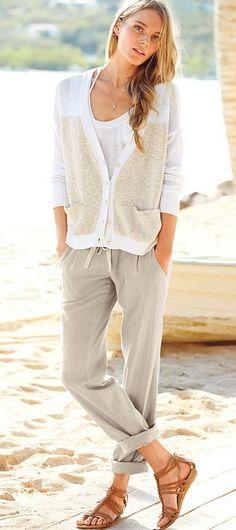 How To Wear Linen Pants Women Outfits Pinterest