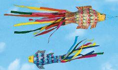 """Karpfen-Windspiel basteln Der Karpfen symbolisiert in Japan Kraft, Mut und Erfolg im Leben. Bei uns finden Sie die Vorlage, wie man das Windspiel """"Karpfen"""" mit Kindern bastelt."""
