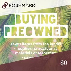 ❤❤❤ I love sites like Posh because they make it easy to be a sustainable consumer! Shopping in someone else's closet prevents items from going to a landfill (or languishing unused in the back of that closet), reduces environmental impact (clothing production uses material resources and chemical dyes), requires no labor (nearly all inexpensive clothing is made by low-wage workers in poor conditions), saves money for the buyer, and makes money for the seller - wins all around :) Accessories