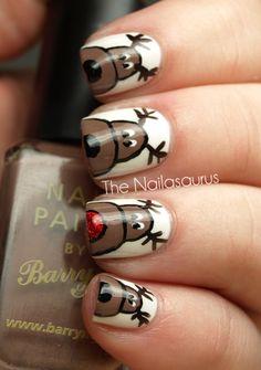 So cute! The Nailasaurus: 12 Days of Christmas Nails: Day 2 (Reindeer Nail Art)