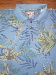 ALOHA SHIRT! MENS XXL 2XL CARIBBEAN JOE blue HAWAIIAN golf POLO slate blue