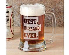 16 Oz Best Husband Ever Beer Mug Personalized Drinking Glass Etched Gift for Father Day Dad Grandpa Husband From Wife Kids Son Daughter -- You can get additional details at the image link. #Fathersdaygift