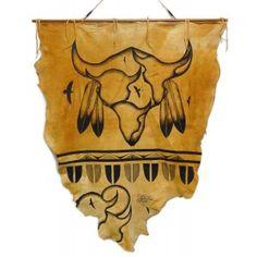 Native American Hand Painted Deer Hide: Buffalo Vision