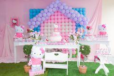 Hello Kitty Party Decor by Katia Ribeiro - DK Events Richmond Balloon Backdrop, Balloon Decorations, Balloons, Hello Kitty Cake, Hello Kitty Birthday, Kitty Party, Dessert Table, Backdrops, Bb