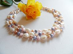 Pearl Necklace Classic Necklace Pastel Pearls by CraftsbySigita