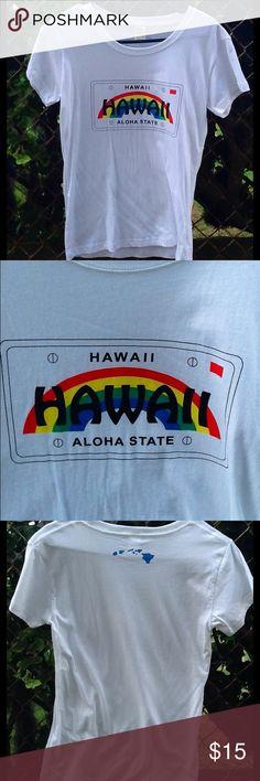 Hawaii Aloha State License Plate Tshirt Woman's white scoop neck T. Front Hawaii license plate, back Hawaiian islands. Tia Lei Tops