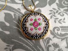 Victorian Floral Round Pendant DIY Needlepoint Pendant Kit by Jenny Henry Designs