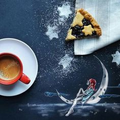 Cinzia Bolognezi, illustrations, I was having breakfast on a black sheet that I normally use for work. Looking at that sheet with cookies on it, I started drawing some stories unconsciously. #artpeople  www.artpeoplegallery.com