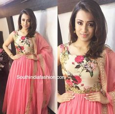 The ball of Positivity and prettiness in Pink today for the promotions of Actress Trisha Krishnan in one of my Favourite labels ~… Salwar Designs, Blouse Designs, Churidhar Designs, Dress Designs, Indian Attire, Indian Outfits, Indian Gowns Dresses, Shadi Dresses, Long Dresses
