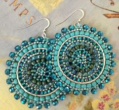 Items similar to Aquamarine and Turquoise Seed Beaded Earrings - Big Bold Multicolored Disc Earrings on Etsy Black Diamond Earrings, Big Earrings, Seed Bead Earrings, Etsy Earrings, Statement Earrings, Seed Beads, Hoop Earrings, Turquoise Earrings, Beaded Earrings Patterns