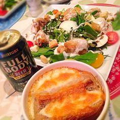今日はサラダとスープが主役だーい♡ - 45件のもぐもぐ - オニオングラタンスープ☆チキンシーザーサラダ☆ by komamemaru