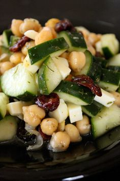 Chickpea and Cucumber Salad with Dried Cherries and Cheese BL- I made without the cheese and it was still really delicious. A tasty side dish for dinner or it could be a small meal, the chickpeas are filling. Healthy Snacks, Healthy Eating, Clean Eating, Kid Snacks, Lunch Snacks, Healthy Cooking, Vegetarian Recipes, Cooking Recipes, Healthy Recipes