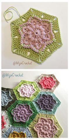 Wind Flower Hexagon Free Crochet Pattern