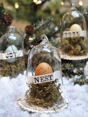 """A sweet little egg rests in a delicate glass cloche, nestled in its nest and ready to live on your tree.   3"""" wide x 4"""" tall. ..."""