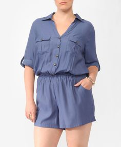 Collared Woven Romper | FOREVER21 PLUS - 2000043450 - I'm not a fan of rompers, but this is cute.