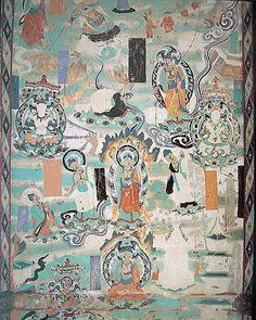 敦煌壁畫 - 敦煌莫高窟、安西榆林窟中的壁畫是中華民族的文化瑰寶,深有歷史和藝術價值, 壁畫結構嚴謹,造型逼真,色彩鲜鮮豔,特別是線描,瀟洒流暢。