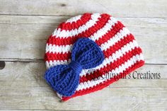 4th of July Hat Crochet baby girl patriotic with bow, 4th of July baby girl hat, red, white stripes and blue bow