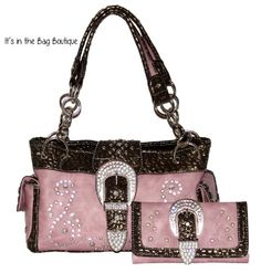 Montana West - Concealed Carry Purse - Rhinestone Buckle Chain Concealment Purse with Matching Wallet (Pink) Montana West http://www.amazon.com/dp/B00MK9TUXM/ref=cm_sw_r_pi_dp_GXXbvb19V96EW