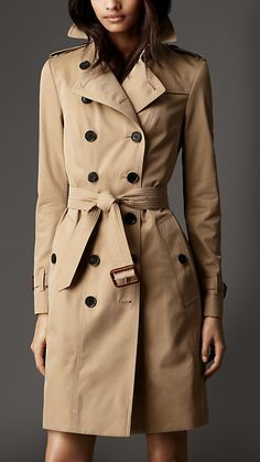 Long Cotton Gabardine Leather Detail Trench Coat | Burberry