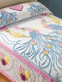 $99.99 Peacock Chenille Bedspread: 100% cotton chenille bedspread in a double peacock design is an authentic reproduction of those made years ago. From the 1930s through '50s, a 50-mile stretch of Georgia highway was dubbed Peacock Alley for the bright, colorful handmade chenille bedspreads hung for sale on clotheslines.