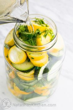 Quick Pickled Zucchini - These are similar to refrigerator pickles except they are zucchini! The zucchini stay crisp to the bite even after marinating. Zucchini Pickles, Pickled Zucchini, Zucchini Salsa, Zucchini Zoodles, Recipe Zucchini, Canning Pickles, Fermented Foods, Antipasto, Canning Recipes