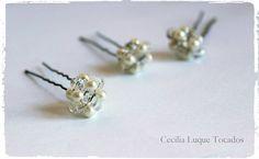 Pinchos tipo boton de perlas y cristales Novias, Bodas, Tocados