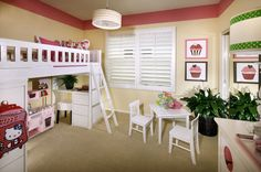 We love the pink 'kitchen!'     A desk and pink kitchen tucked below a bunk bed make this girl's room complete. Plan Two by Brookfield Homes LA. The Garden House at Colony Park community. Anaheim, CA.