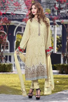 Captivating #beige georgette straight cut #kameez with straight #pants in #crepe -SL5024
