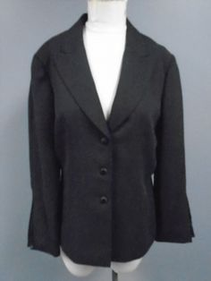 138.59$  Buy here - http://virva.justgood.pw/vig/item.php?t=fuj2zsc611 - TAHARI Black Solid Polyester Lined Button Down Blazer Jacket Size 12 CC3474 138.59$
