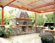 Patio with outdoor brick oven and pergola. Outdoor Kitchen Plans, Outdoor Kitchen Design, Outdoor Kitchens, Patio Kitchen, Fireplace Kitchen, Summer Kitchen, Fireplace Ideas, Kitchen Island, Outdoor Rooms