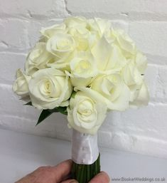 All White Akito rose hand tied bridal bouquet side view | Wedding Flowers Liverpool, Merseyside, Bridal Florist, Booker Flowers and Gifts, Booker Weddings, Flower delivery Liverpool