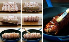 Maple Bacon Wrapped Pork Tenderloin Ingredients) - Pork + Maple + Bacon + Olive Oil is all you need to make this. Easy enough for midweek, fancy enough for dinner parties. Easy Pork Loin Recipes, Filet Recipes, Pork Tenderloin Recipes, Bacon Recipes, Grilling Recipes, Cooking Recipes, Cooking Pasta, Pork Loin Marinade, Bacon Wrapped Pork Tenderloin