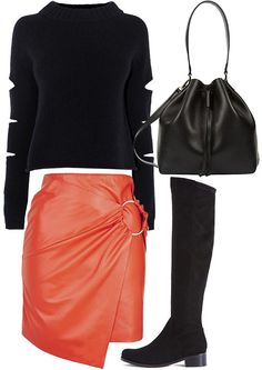 OXFORD – STYLED OUTFIT | The Stylist's Stamp | Styled for Body Type | Apple & Strawberry | Styled Fashion | Orange Leather Skirt, Black Slashed knitwear Jumper, Duffle Bag, Flat Knee High Boots | Shopping | OOTD