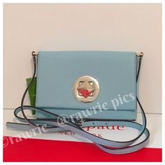 """New Kate Spade blue saffiano leather shoulder bag 100% authentic Kate Spade Newbury Lane Sally blue hydrangea saffiano leather with 14-karat light gold plated hardware. Flap with Kate Spade stamped turnlock closure. Fabric lining and one inside slip pocket. Measures 7.5"""" x 5.25"""". Brand new with tags. Comes from a pet and smoke free home. This item does not come with dustbag. kate spade Bags Shoulder Bags"""