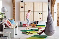 Bedroom Swing Ikea For Kids With Extra Large Round Area Rugs Ikea Playroom, Ikea Kids Room, Playroom Design, Kids Room Design, Playroom Ideas, Ikea Ivar Shelves, Ikea Ivar Cabinet, Porch Swings For Sale, Bedroom Swing