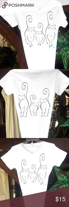 Cats Silhouettes Short Sleeved V-Neck Cotton T Cats Silhouettes Short Sleeved V-Neck Cotton T in ALL SIZES This graphic is my stylized version of my DIVAS in Short Sleeve!!! I reduced the cats to just the very bare minimum in line design to just capture the purest essence of my cats. The cats are coming on the front and going on the back! (2 sided shirt). The drawings are sleek and sophisticated. LA TEES Tops Tees - Short Sleeve