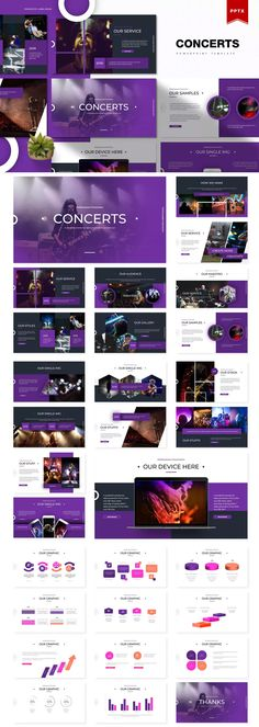 Concerts | Powerpoint Presentation Template. Download Presentation Design Template, Presentation Layout, Powerpoint Presentation Templates, Presentation Slides, Ppt Design, Design Templates, Layout Design, Business Powerpoint Templates, Keynote Template