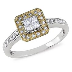 1/4 CT. T.W. Princess-Cut Quad Diamond Frame Ring in 10K Two-Tone Gold - Clearance - Zales