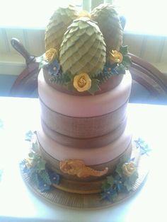 Game of Thrones Wedding cake. Dragon's eggs. Denaerys. Dragon. Sugar flowers. Egg.