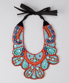 Take a look at the ZAD Turquoise & Red Beaded Necklace on #zulily today!