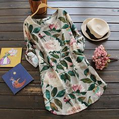 Get this with $22.99/7 days free shipping. It is time for peony bloom! This floral print dress with adjustable sleeve&side pockets will radiate vigor of your world!