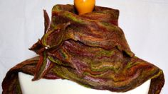 Scarf red green black and orange. Hand felted. by jaracedesigns