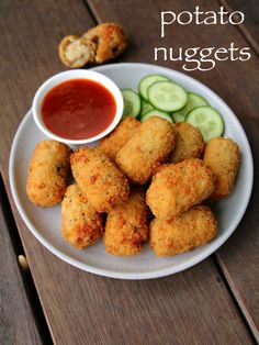 potato nuggets recipe, spicy potato nuggets, potato snacks recipes with step by step photo/video. vegetarian version of the chicken McNuggets by McDonald's. Pakora Recipes, Cutlets Recipes, Chaat Recipe, Veg Recipes, Spicy Recipes, Healthy Recipes, Snacks Recipes, Easy Iftar Recipes, Sandwich Recipes