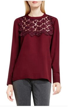 Vince Camuto Lace Yoke Long-Sleeve Blouse at Nordstrom