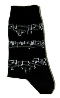 Musik-Socken schwarz mit Notenlinien