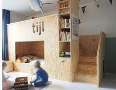 Wil jij een unieke baby- of kinderkamer voor jouw kleintje? Cool Bunk Beds, Bunk Beds With Stairs, Kid Beds, Casa Kids, Kids Room Design, Kid Spaces, My New Room, Boy Room, Room Kids